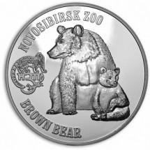 Британские Виргинские Острова 1 доллар 2016 год. Proof Новосибирский Зоопарк. Бурый Медведь